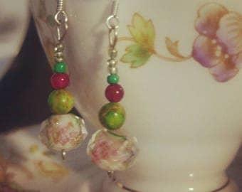 Vintage teacup earrings
