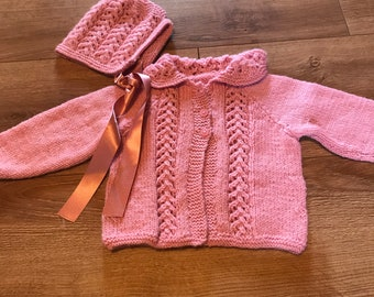 New Hand Knitted Baby Cardigan With Hat Age 3/6 months