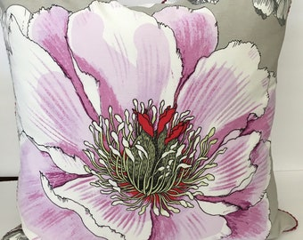 """Decorator Throw Pillow Grey Lilac Flower 22"""" Square with Insert"""