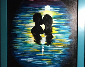 Kissing under the Moon painting