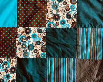 Patchwork Blanket - Turquoise/Brown