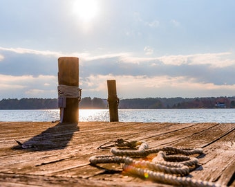 Daylight Pier with Rope in Late Day Sunshine