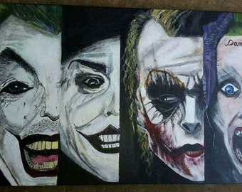 Hand painted 4 of a kind jokers painting