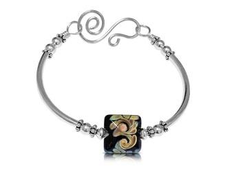 Boho Bangle Bracelet, Layering Bracelet, Beaded Bracelet Bangle, Bracelets for Women, Gift for Her, New Girlfriend Gift Bracelet