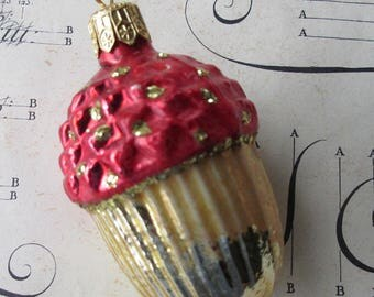 Vintage Christmas Ornament Glittered Fancy Acorn Hand Blown Glass Made In Germany  X-10