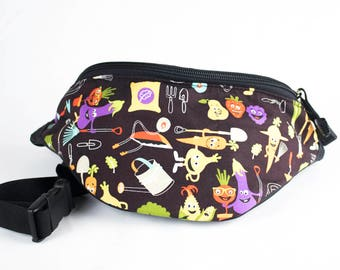 Fanny pack Gardener Farmer fabric - Cute  - Hip Waist Bag - 2 Zippers