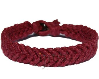 Burgundy hemp Feather bracelet or anklet