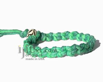 Rainbow Green Hemp Chain Bracelet or Anklet