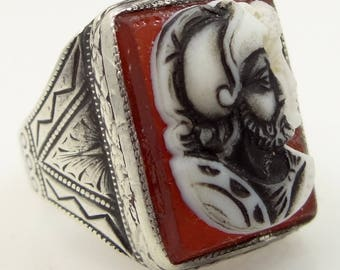Victorian Sterling Silver Etched Double Cameo Ring