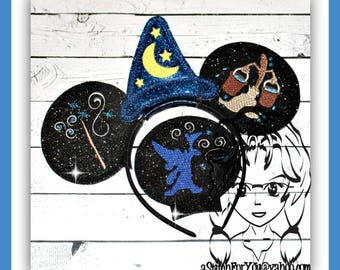 SORCERER MaGICIAN BRooM & WaND (4 Piece) Mr Miss Mouse Ears Headband ~ In the Hoop ~ Downloadable DiGiTaL Machine Emb Design by Carrie