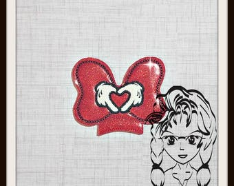 BoW HeART HaNDS Center (Add On ~ 1 Pc) Mr Miss Mouse Ears Headband ~ In the Hoop ~ Downloadable DiGiTaL Machine Embroidery Design by Carrie