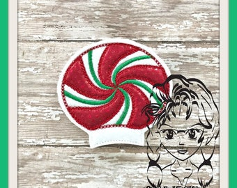 PEPPERMiNT SWiRL Ear (Add On ~ 1 Pc) Mr Miss Mouse Ears Headband ~ In the Hoop ~ Downloadable DiGiTaL Machine Embroidery Design by Carrie
