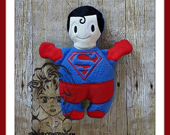 SUPER FLYiNG HERO Character Inspired 3D Plush Softie Toy ~ In the Hoop ~ Downloadable DiGiTaL Machine Embroidery Design by Carrie