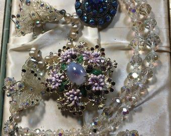 Vintage Crystal Estate Jewelry Box Lot