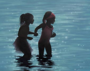 Original Figurative Beach Painting, African American Art, Blue Painting, Children Painting, Sisters Painting, Water Art