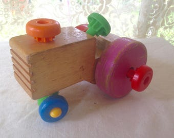 Vintage Tractor Wooden Toy Mattel Puzzle 1970s