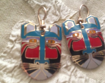 Laurel Burch MIIKIO CAT FACES Cloisonne Earrings French Ear Wires Vintage Jewelry 1980s Black Turquoise Red Silver