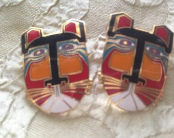 Laurel Burch MIIKIO TIGER CAT Faces Cloisonne Post Earrings Vintage Jewelry 1980s Black Orange Red Teal Silver