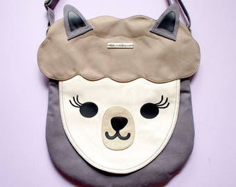 Alpaca Gifts, Alpaca Purse, Crossbody Purse, Sling Bag, Llama Bag, Llama Purse, Alpaca Bag, Llama Gift, Fabric Sling Bag - GRAY WHITE Alpaca