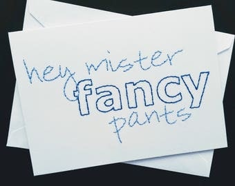 mr. fancypants hand-embroidered card