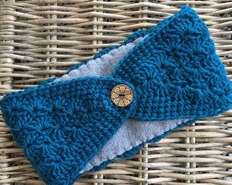 Wide Winter Headband - Teal Blue Crochet Ear Warmer with Gray Fleece Lining + Button - Warm Winter Accessory