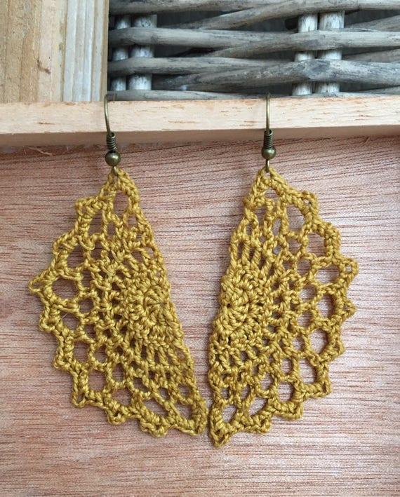 Boho Earrings Gold - Gift for Her - Crochet Lace Earrings - Dangle Statement Earrings - Lightweight, Gypsy Earrings, Gift Under 25