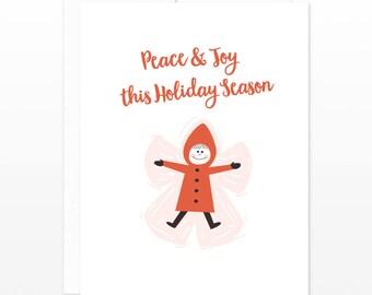 Christmas Holiday Card - Peace & Joy This Holiday Season - Children Card, Child card, Cute holiday card, Snow angel card