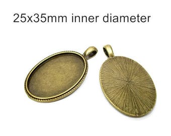 5 bronze settings, 25x35 cameo setting, bronze pendant, bronze bezel, bezel, vintage style setting, Pendant Tray, oval setting