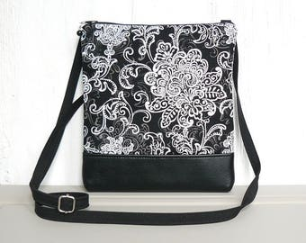 Small Crossbody Bag, Black Hip Purse, Zipper Cross Body Purse - Filigree Flourish in Black, White and Gray