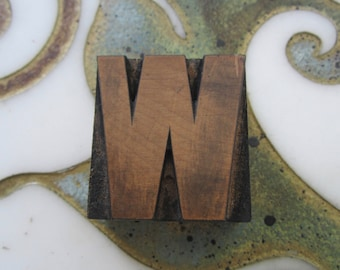 Letter W Antique Letterpress Wood Type Printing Block