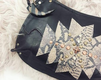 Midnight Brown and Aztec Python Crossbody Bag