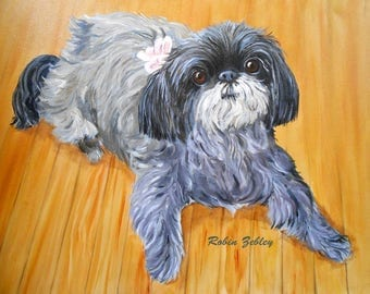 Custom Pet Portrait Painting, Original Fine Art Oils on Canvas Dog Portrait Animal Art