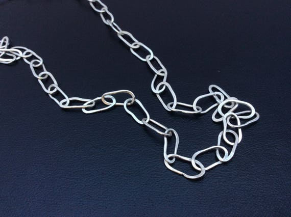 One of a kind hammered solid 16 inch argentium sterling silver link chain