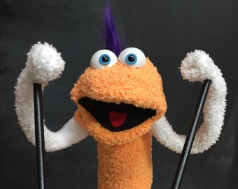 Sock Puppet Creature, Hand and Rod Puppet, Orange Puppet, Purple Mohawk, Arm Rods, Lots of Personality