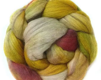 YAK SILK SUPERFINE MERINo roving top handdyed spinning fibre 3.6 oz