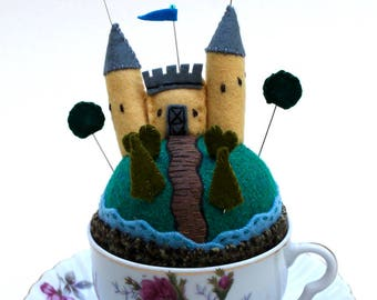 Wool Pincushion Castle Tiny World on a Hill fantasy garden teacup makedo