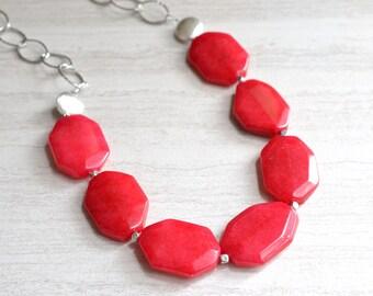 Jane - Red Jade Silver Chain Statement Necklace