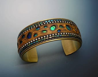 Brass wide Cuff Bracelet with faux burl wood polymer clay green blue Hematite and sterling silver bead inlay iridescent blue green holes