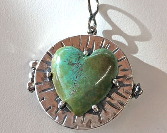Locket, Green-Blue Turquoise Heart Locket