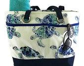 Sea Turtles tote bag, turtle beach bag, Navy beach bag, Waterproof lined beach bag, Pool tote bag, Large Beach tote, gift for her