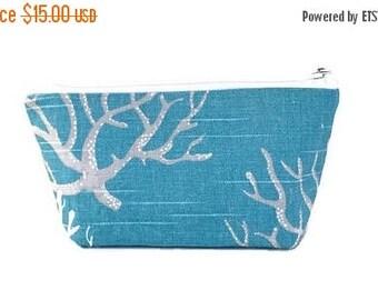 SALE small makeup bag, coral, ocean blue,  cosmetic bag,  organizer pouch,  girlfriend gift,  zipper bag, zipper pouch,