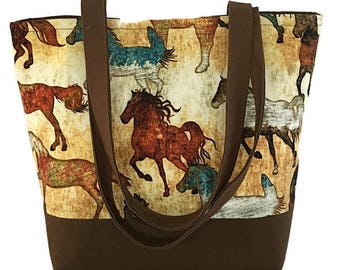 horse lovers tote bag, gift for horse lovers, unique gift idea, book bag, cotton bag, tote bag for school, gift idea, fabric handbag