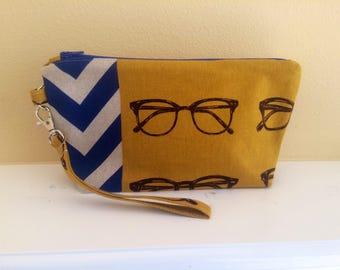 The Essential Zipper Wristlet- Echino Mustard Glasses