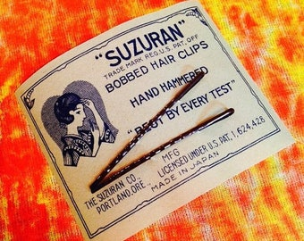 SALE 1920s BOBBY PINS Card Antique Vintage Old Stock Dark Brown Japan