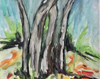 Abstract landacape painting tree forest Art shabby chic home decor    expressionism boho farmhouse style