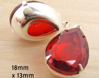 Red Glass Beads - 18x13 Teardrop - Sheer Pear Jewels - 18mm x 13mm Rhinestones - Glass Gems - Jewelry Supply - One Pair