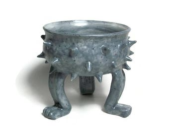 Ceramic Planter - Spiked Pot - Small Grouchy Planter Pot with Spikes and Sculpted Feet - Light Blue