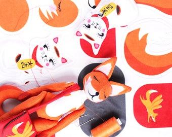Fox and Lucky cat DIY KIT - maneki neko - plush sewing kit sewing cat doll