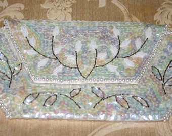 Vintage White Beaded Iridescent Sequined Clutch - Imported Japan 1950's
