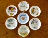 Seven Deadly Sinshand painted vintage bone china plate assemblage one of a kind recycled wall art sinful display